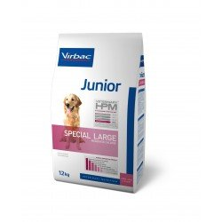 Virbac Vet Hpm Dog Junior Large Porc et Volaille
